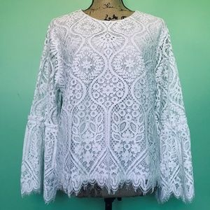 Worthington Sheer Lace Lined Blouse Fringed Crew
